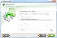 PageTypes Installer - Configuring PageTypes Updates Service and Backups.